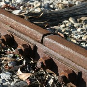 Rusty rails with fishplate, Kojonup